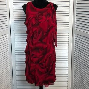 EUC WHBM Romantic Rose Print Red Dress